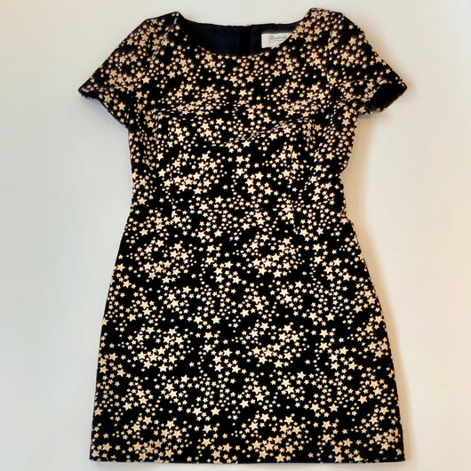 Bonpoint Black And Gold Star Print Dress: 12 - 14 Years