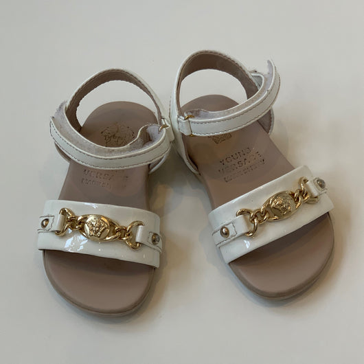 Versace White Patent Sandals: Size 20