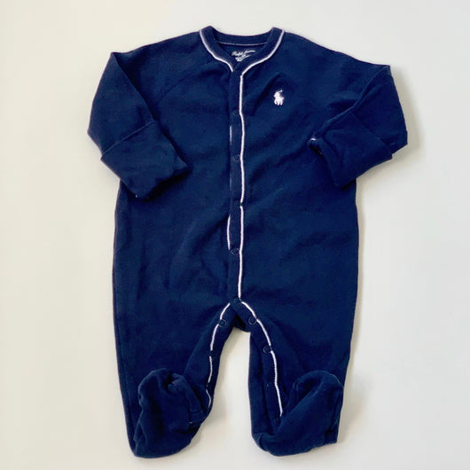 Ralph Lauren Navy All-In-One With White Polo Logo: 3 Months
