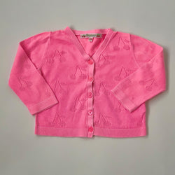 Bonpoint Faded Neon Pink Cherry Cotton Cardigan: 12 Months