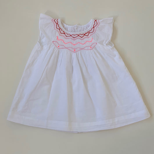 Jacadi White Cotton Dress With Contrast Smocking: 6 Months