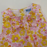 Jacadi Yellow Liberty Print Romper With Bow: 12 Months