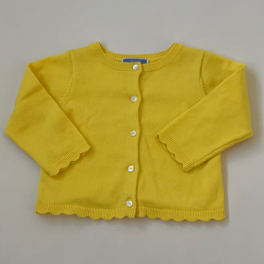 Jacadi Yellow Cotton Cardigan With Scallop Trim: 12 Months
