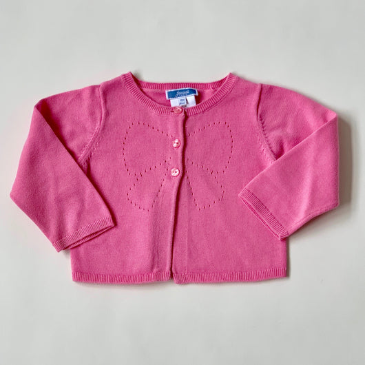 Jacadi Pink Cotton Cardigan With Bow Motif: 18 Months