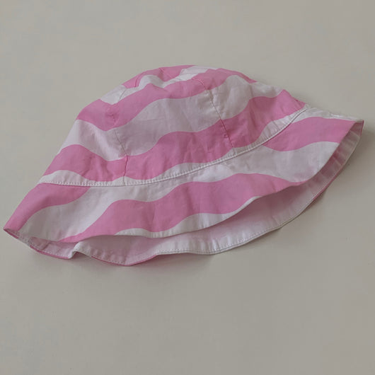 Jacadi Pink And White Stripe Cotton Sunhat: 18 Months
