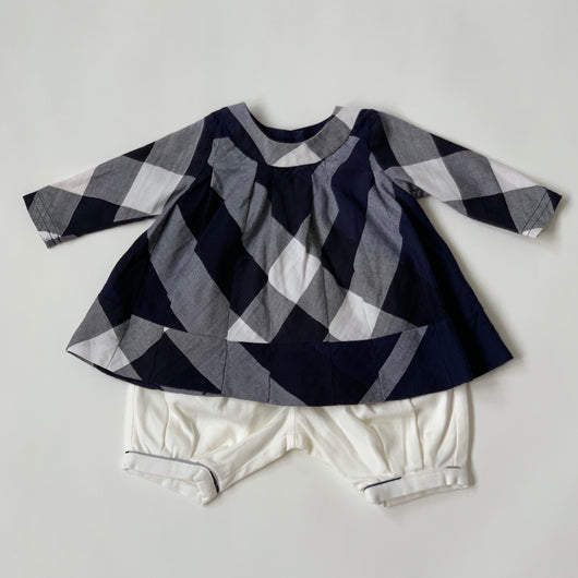 Burberry Navy And White Check Outfit: 3 Months