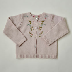 Bonpoint 100% Cashmere Cardigan With Floral Motif: 2 Years