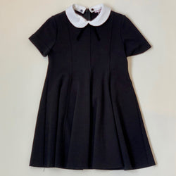 Il Gufo Black Jersey Dress With White Collar: 3 Years
