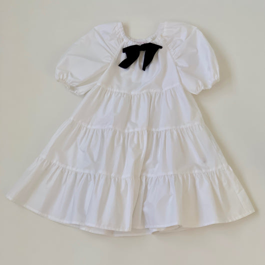 Il Gufo White Tiered Dress With Bow: 3 & 8 Years