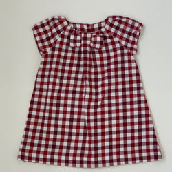Jacadi Maroon And White Check Dress With Bow: 2 Years