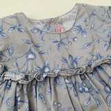La Coqueta Grey And Blue Dress With Frill: 3 Years