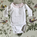 Jacadi White Bodysuit With Pink Frilled Collar