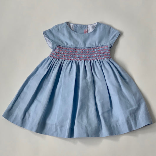 La Coqueta Pale Blue Linen Smocked Dress: 3 Years