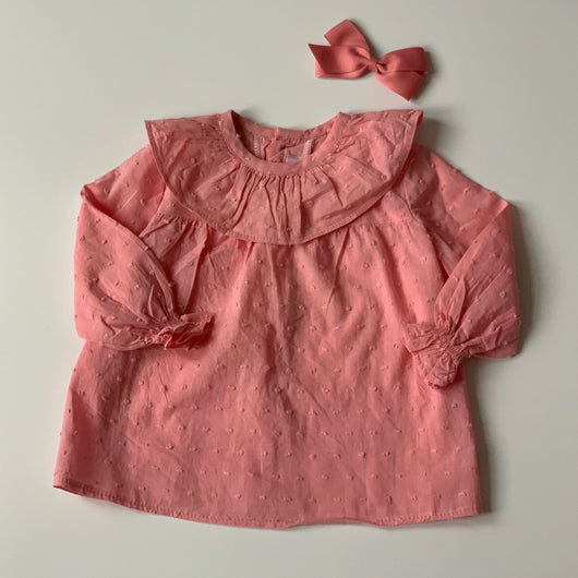 Amaia Dusty Rose Cotton Blouse With Frill Collar: 6 Months