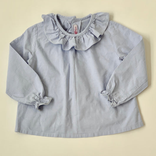 Amaia Blue Chambray Blouse With Frill Collar: 3 Years