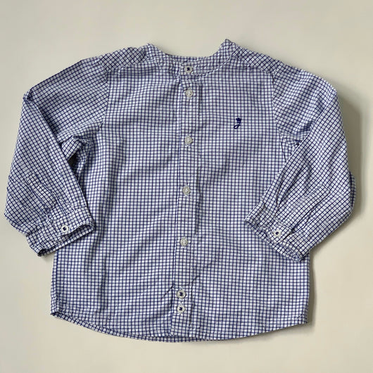 Jacadi Blue And White Check Collarless Shirt