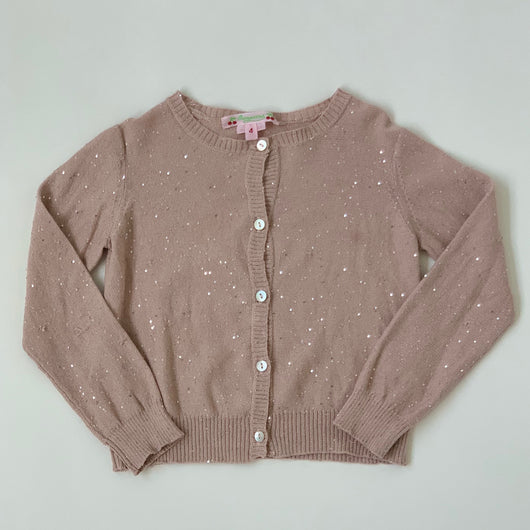 Bonpoint Dusty Pink Metallic Cardigan With Sequins: 4 Years