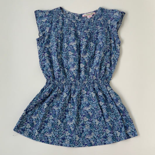 Bonpoint Blue Liberty Print Dress With Gathered Waist: 4 Years