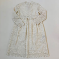 Bonpoint Winter White Cotton Broderie Anglaise Dress: 8 Years