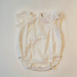 Bonpoint Cream Cotton Romper With Lace Trim: 3 Months