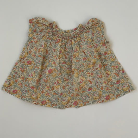 Bonpoint Yellow Tone Liberty Print Short Sleeve Smocked Blouse: 6 Months