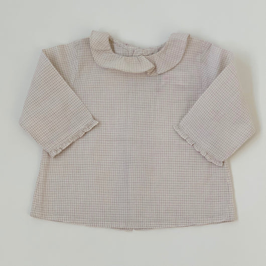 Bonpoint Pale Pink Check Blouse: 6 Months