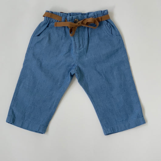 Bonpoint Chambray Cotton Trousers With Tie Belt: 6 Months