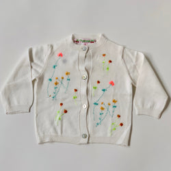 Bonpoint White Cotton Cardigan With Floral Embroidery: 6 Months (Brand New)