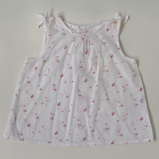 Bonpoint Blurred Rose Print Sleeveless Blouse: 12 Months