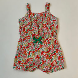 Jacadi Red Toned Liberty Print Shorts Romper: 18 Months