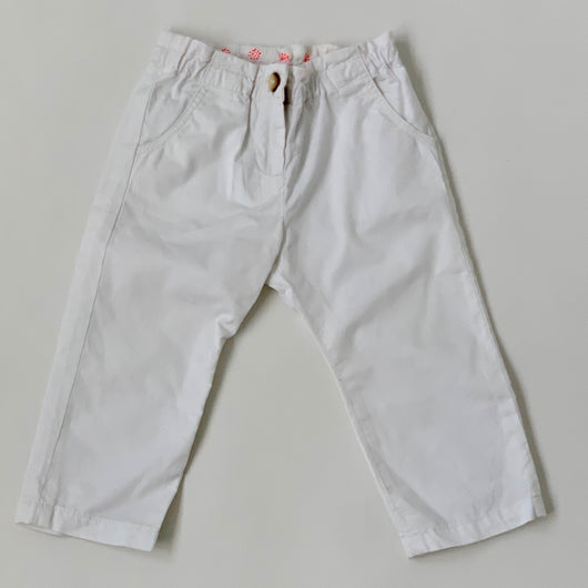 Bonpoint White Cotton Trousers With Neon Trim: 18 Months