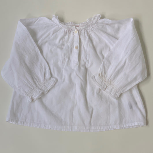 Bonpoint White Lace Trim Blouse: 18 Months