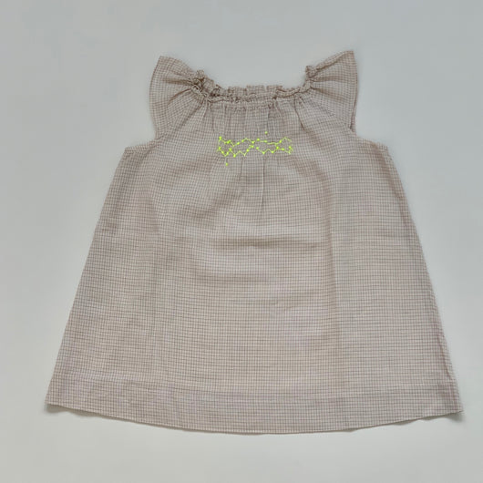 Bonpoint Cream Checked Dress With Neon Smocking: 18 Months