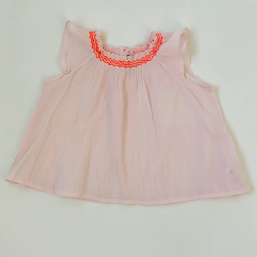 Bonpoint Pale Pink And Neon Gauzy Summer Top: 2 Years