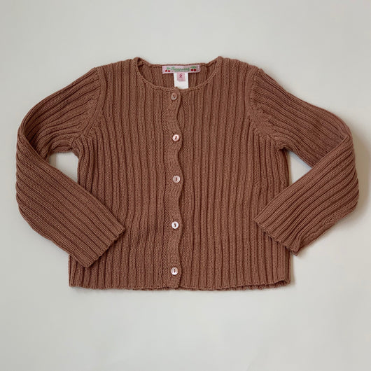 Bonpoint Tobacco Cotton Ribbed Cardigan: 2 Years