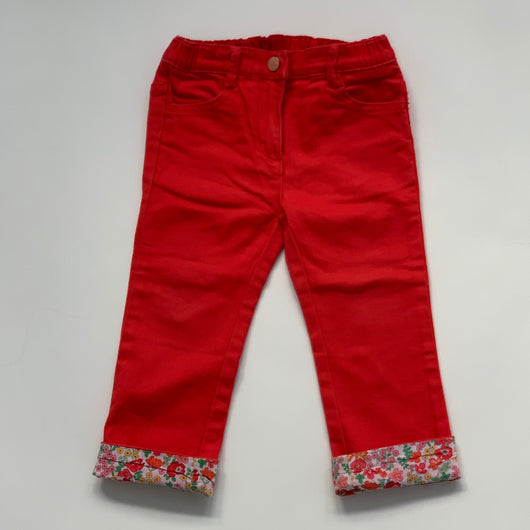 Jacadi Red Denim Jeans With Liberty Print Trim: 2 Years