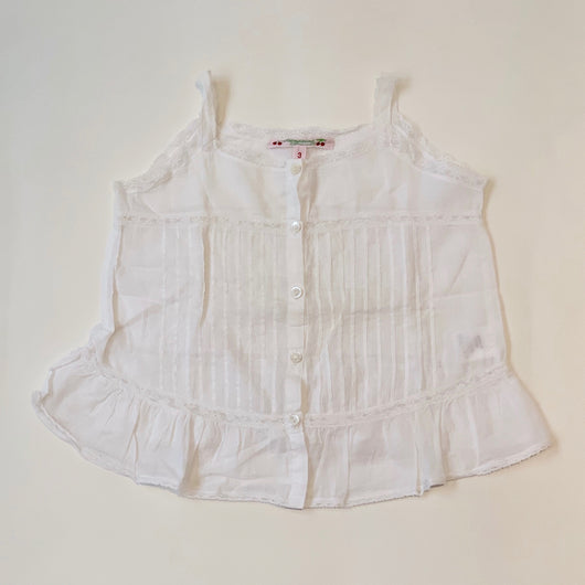 Bonpoint White Cotton Pintuck Summer Blouse With Lace Trim : 3 Years