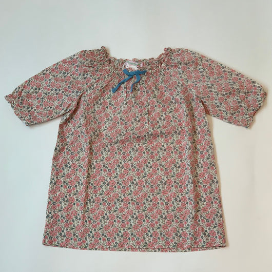 Bonpoint Pink Liberty Print Dress With Cornflower Blue Bow: 3 Years