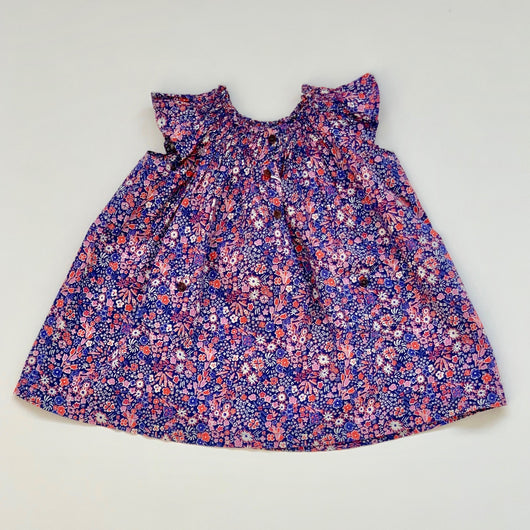 Bonton Blue And Red Liberty Print Dress: 18 Months
