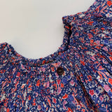 Bonton Blue And Red Liberty Print Blouse: 3 Years