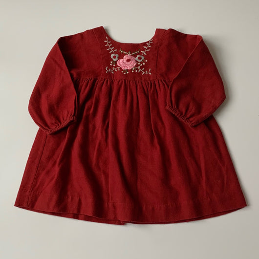 Bonpoint Maroon Wool Mix Dress With Embroidery: 2 Years