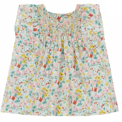 Bonpoint Mint Liberty Print Dress With Smocking : 3 Years
