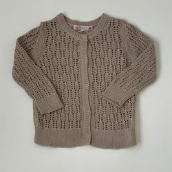 Bonpoint Taupe Crochet Cardigan:3 Years