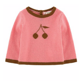 Bonpoint Bubblegum Pink Cashmere Jumper With Cherry Motif: 3 Years