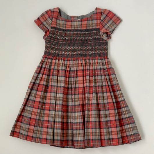 Bonpoint Red And Grey Tartan Hand Smocked Duchesse Dress: 4 Years