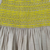 Bonpoint Taupe Duchesse Dress With Neon Smocking: 6 Years