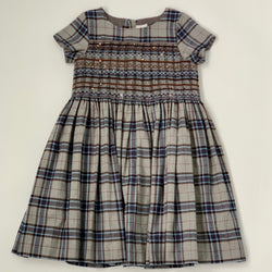 Bonpoint Tartan Duchesse Smocked Dress With Crystal Embellishment: 10 Years