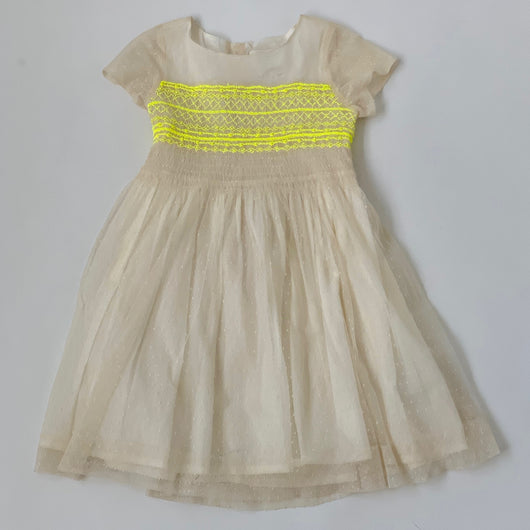 Bonpoint Duchesse Tulle Dress With Neon Smocking Secondhand Preloved