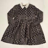 Bonpoint Black And White Silk Paisley Dress With Lace Collar: 8 Years