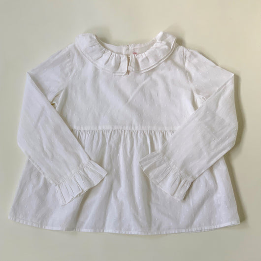 Bonpoint White Swiss Dot Blouse With Collar: 8 Years